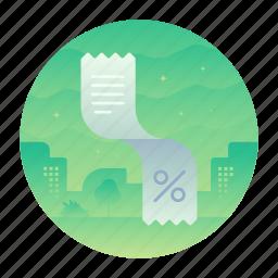 collect, paper, percentage, receipt icon