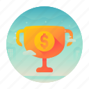 dollar, money, record, trophy icon