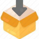 cardboard box, download box, empty box, open box, packaging icon