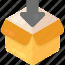 cardboard box, download box, empty box, open box, packaging icon