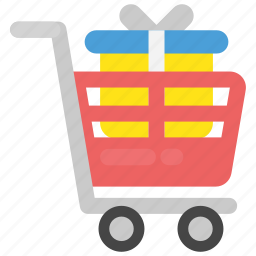 add to cart, buy gift, cart and gift, online shopping, shopping trolley icon