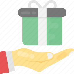 gift to someone, give or receive a gift, hand holding present, present a gift, presenting gift icon