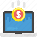digital banking, monitor screen money, online business, online money making, online transaction concept icon