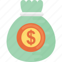 cash dollar, dollar sacks, finance, money bag, sacks of dollars icon