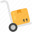 courier boxes, hand truck, luggage cart, packages, pushcart icon