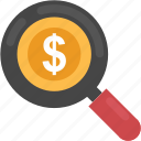 business concept, business search, dollar focusing, investment search, money search icon