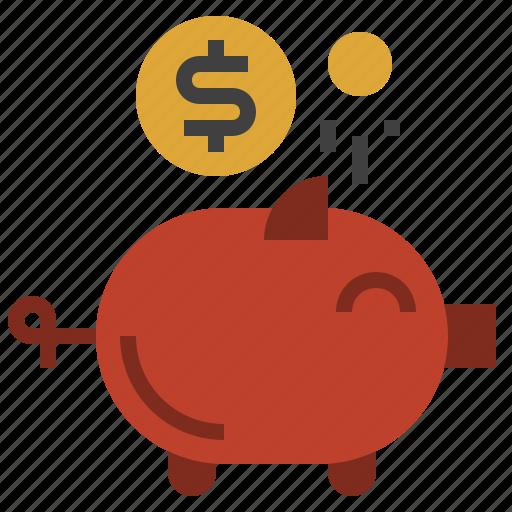 bank, coin, funds, money, piggy, save, savings icon