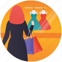 buy clothes, clothes shopping, dress display, fashion showroom, garments shop icon