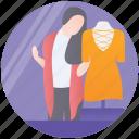 clothing salesgirl, costume designer, dress designing, dressmaker, fashion designer icon