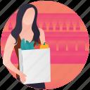 buy food, grocery shopping, shopper, shopping bag, supermarket icon