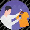 apparel shopping, fashion showroom, men clothing, shirt display, shirt shop icon