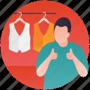 apparel shopping, clothing store, fashion showroom, men clothing, waistcoat shop icon