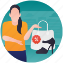 discount offer, footwear shopping, promotion offer, shoe discount, shoes sale icon