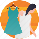 buy clothes, clothes shopping, dress shopping, fashion showroom, garments shop icon