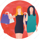 consumerism, friends shopping, shopaholic, shoppers, shopping bags icon