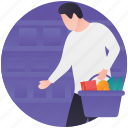 buy food, grocery shopping, shopper, shopping basket, supermarket icon