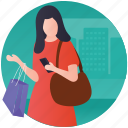 shopaholic, shopping bags, shopping center, shopping mall, woman shopper icon