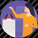 buy footwear, footwear shop, shoes salesgirl, shoes shopping, shopaholic icon