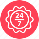 24 hours, 24/7, service, shopping, sign icon