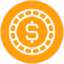 coin, currency, dollar, money, payment, shopping icon