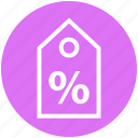 buy, commerce, discount, label, percentage, shopping, tag icon