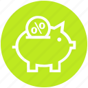 deposits, discount, percentage, piggy bank, savings ratio, shopping, sign icon