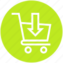 buy, cart, out arrow, product, shopping, shopping cart, trolley