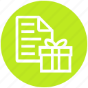 bill, gift, paper, present, receipt, shopping, store