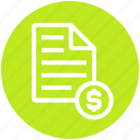 dollar sign, list, paper, receipt, shopping, shopping list icon