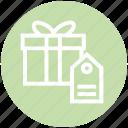 box, gift, label, present, ribbon, shopping, tag icon