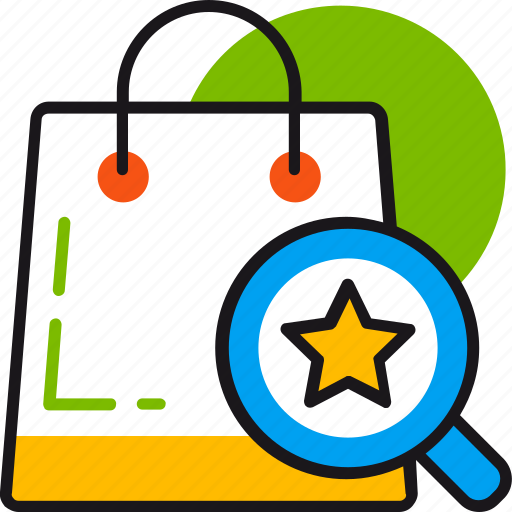 bag, best, favorite, find, magnifier, product, star icon