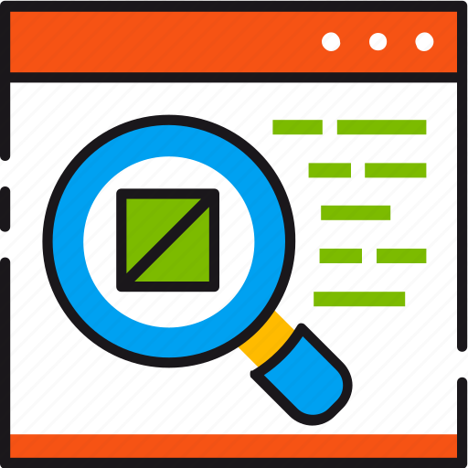 description, find, magnifier, product, search, webpage, zoom icon