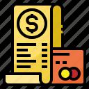 bill, cash, payment, receipt, transaction