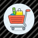 bag, box, cart, carts, full, goods, product, shopping