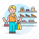 apparel, bag, display, experience, female, purse, section, shelf, shoes, shopping, wall