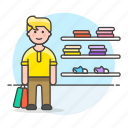 apparel, bag, display, experience, male, man, marketing, section, shelf, shoes, shopping, wall