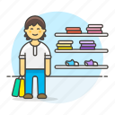 marketing, shopping, male, display, experience, shelf, shoes, wall, man, section, apparel, bag
