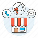advertisement, advertising, awning, mail, marketing, megaphone, phone, shopping, shops, store
