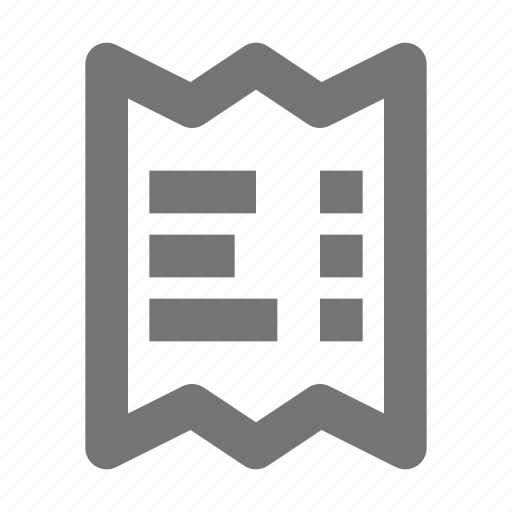bill, invoice, paper, payment, proof, receipt, slip icon