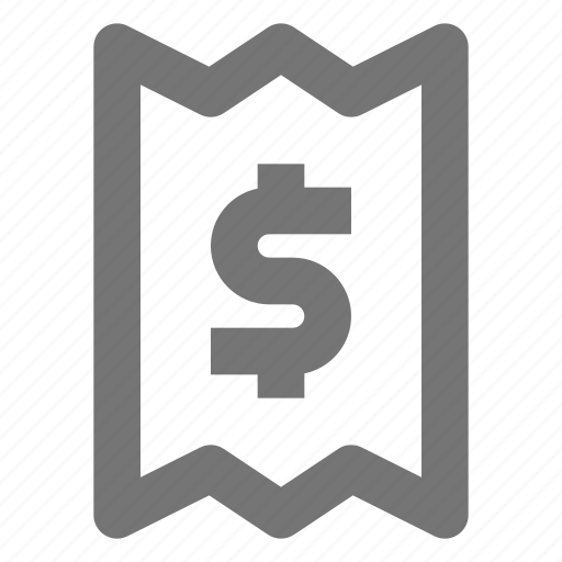 currency, dollar, money, paper, payment, receipt, slip icon