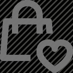bag, favorite, heart, like, shopping icon