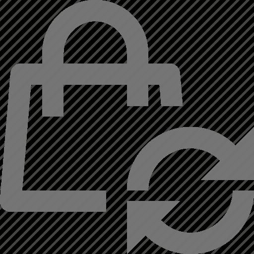 arrows, bag, refresh, reload, shopping, sync icon