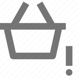 alert, basket, error, exclamation, shopping icon