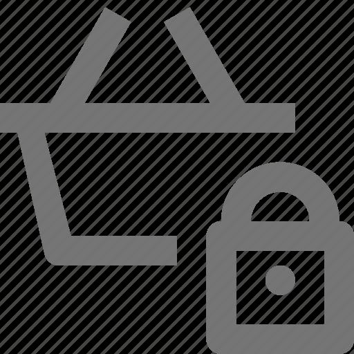 basket, lock, security, shopping icon
