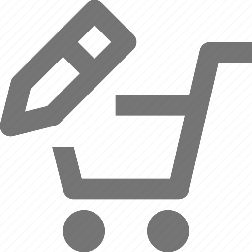 cart, edit, pencil, shopping icon