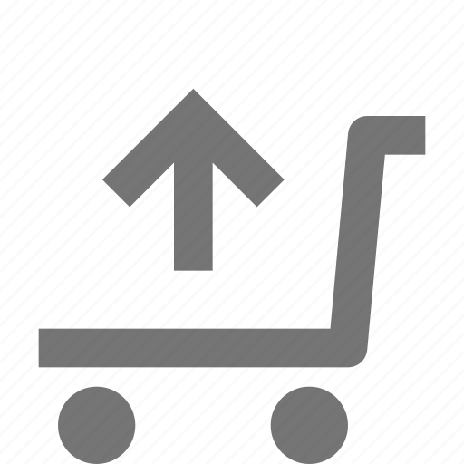 arrow, shopping, trolley, up, upload icon