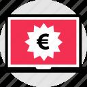 euro, laptop, pc, price, tag icon