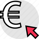 arrow, click, euro, point, sign icon
