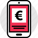 euro, pay, phone, sign icon