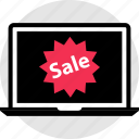 laptop, pc, price, sale, sign, tag icon